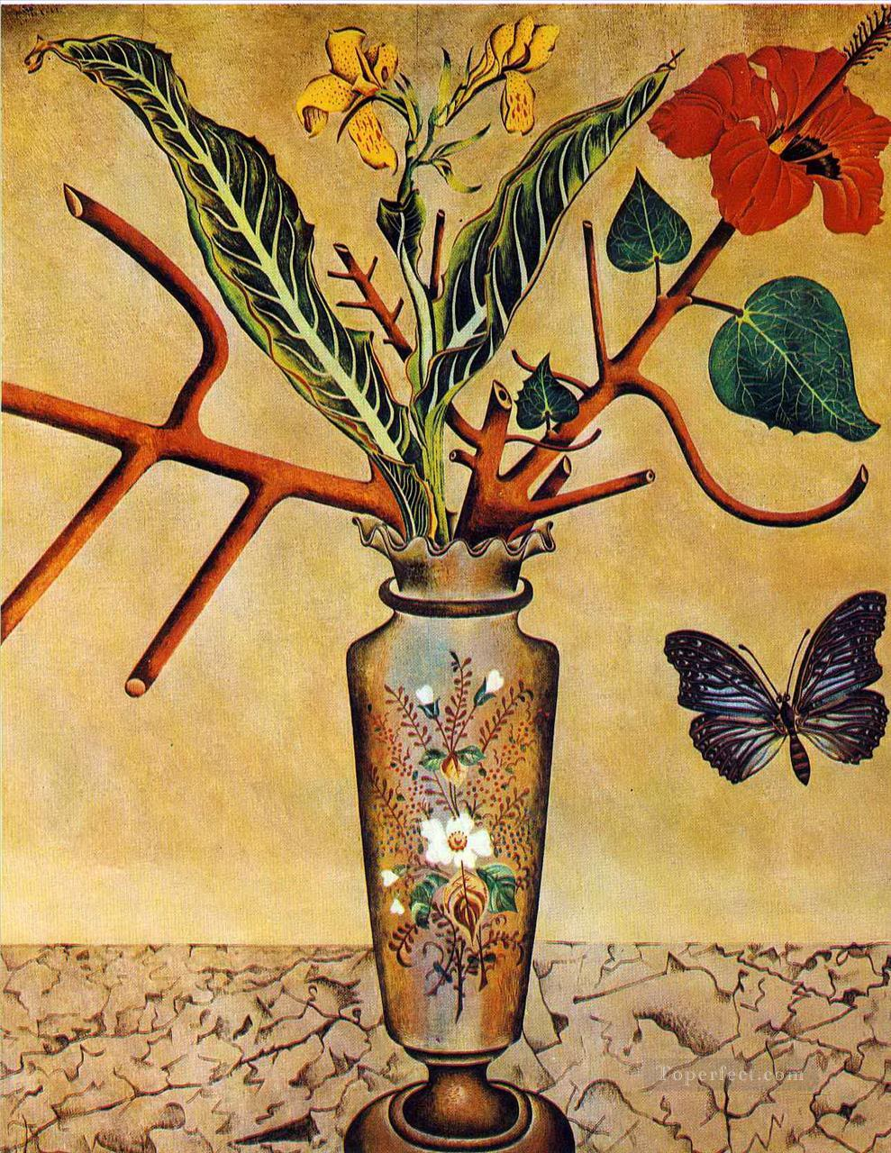 Flowers and Butterfly Dadaism Painting in Oil for Sale Dadaism Paintings