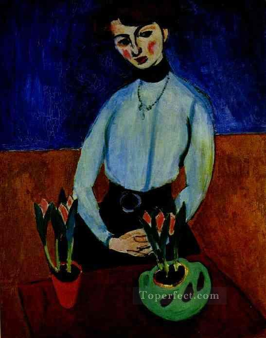 Girl with Tulips Portrait of Jeanne Vaderin 1910 Fauvist Oil Paintings