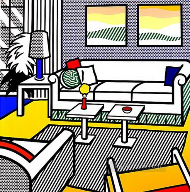 interior with restful paintings 1991 POP Artists Oil Paintings