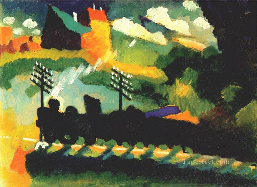 Murnau view with railway and castle Abstract Oil Paintings