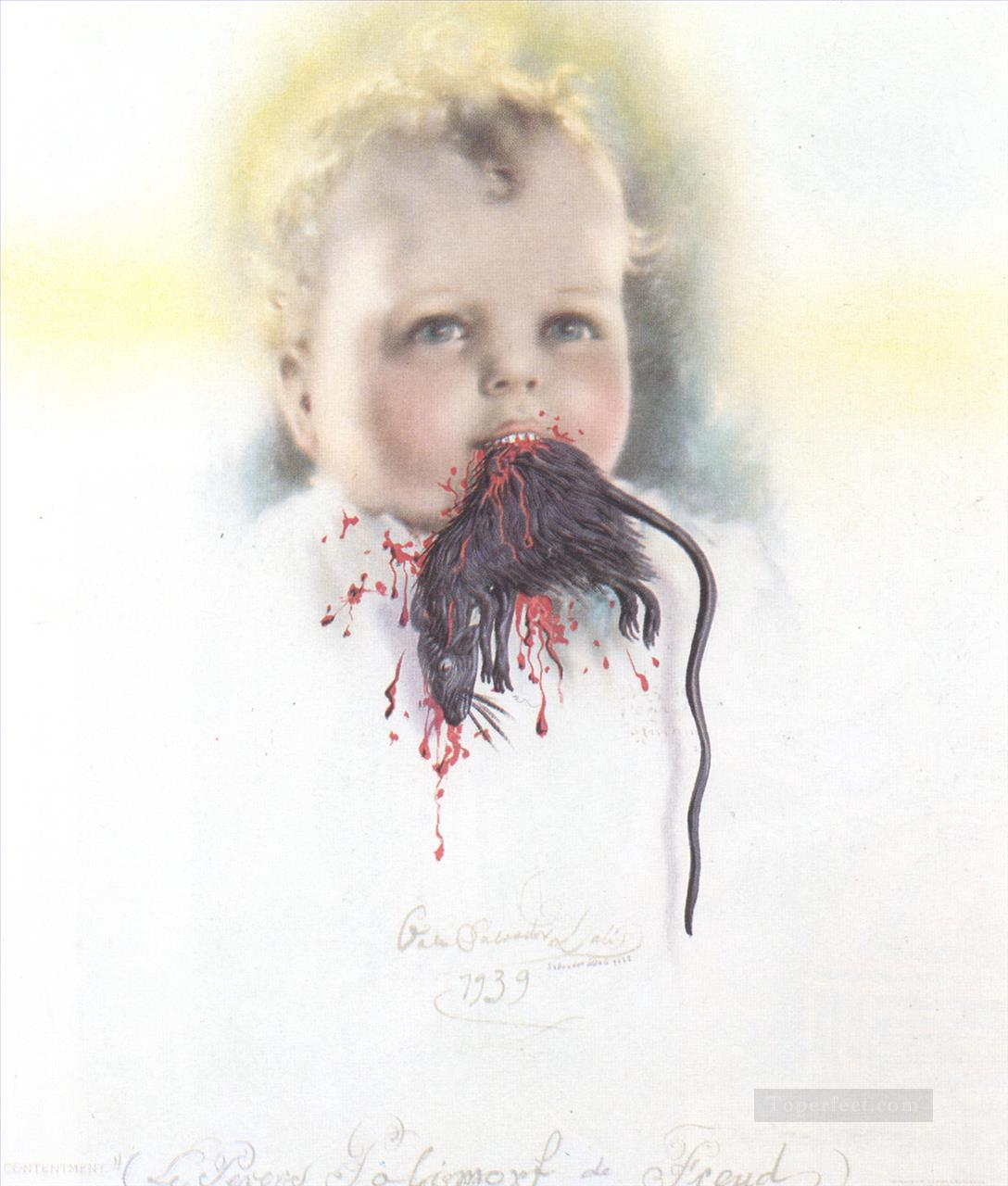 Bulgarian Child Eating a Rat Surrealism Oil Paintings