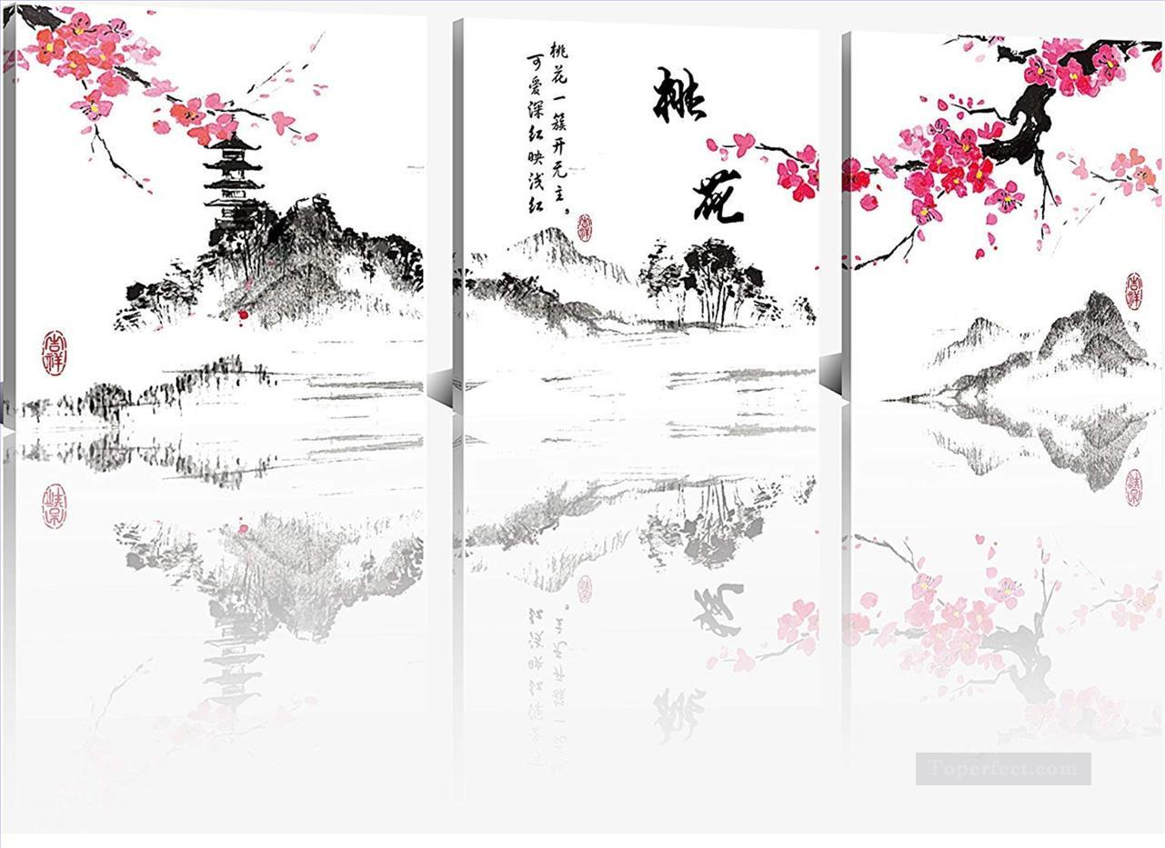plum blossom in ink style in set panels Oil Paintings