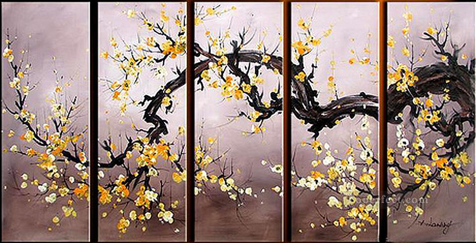 agp029 plum blossom panels group Oil Paintings