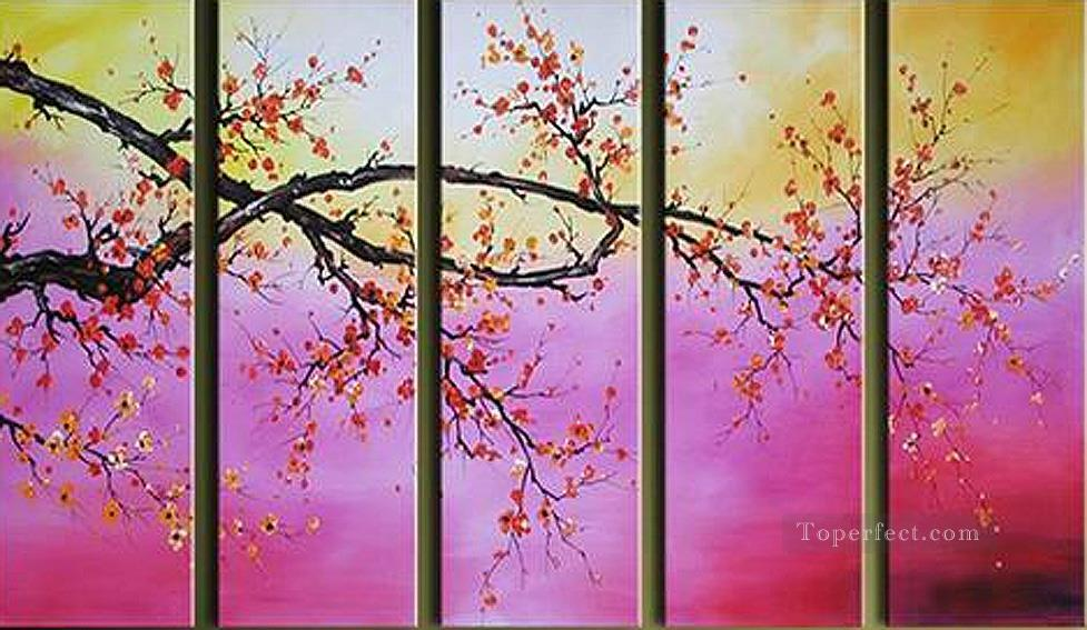 agp032 cherry blossom panels group Oil Paintings