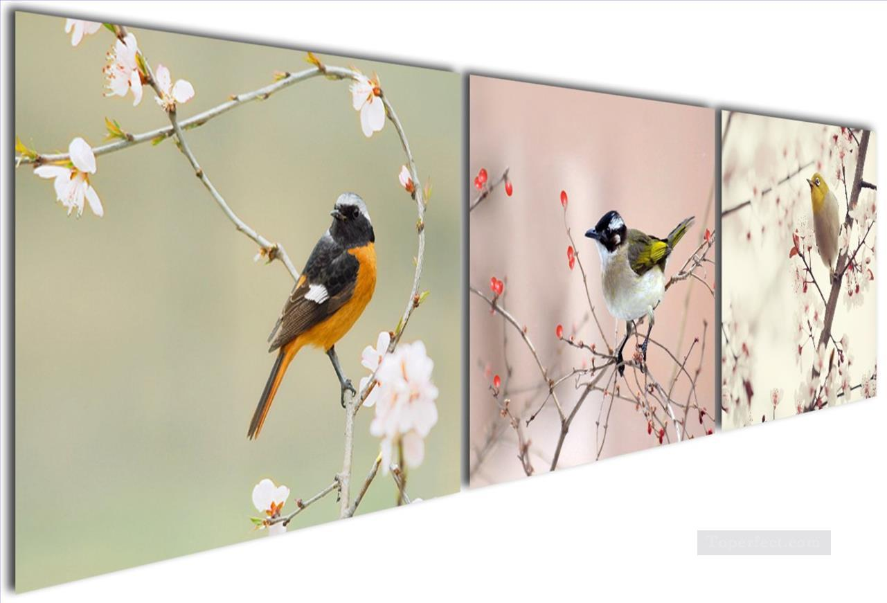 bird in oriental cherry in set panels Oil Paintings