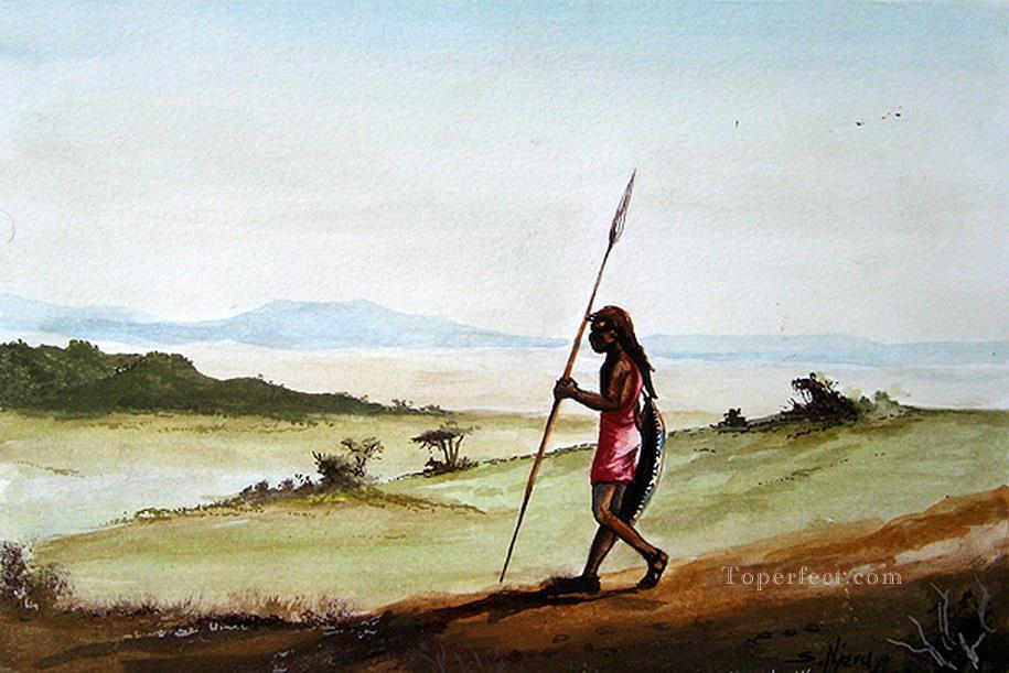 Njeru On the Hunt African Oil Paintings