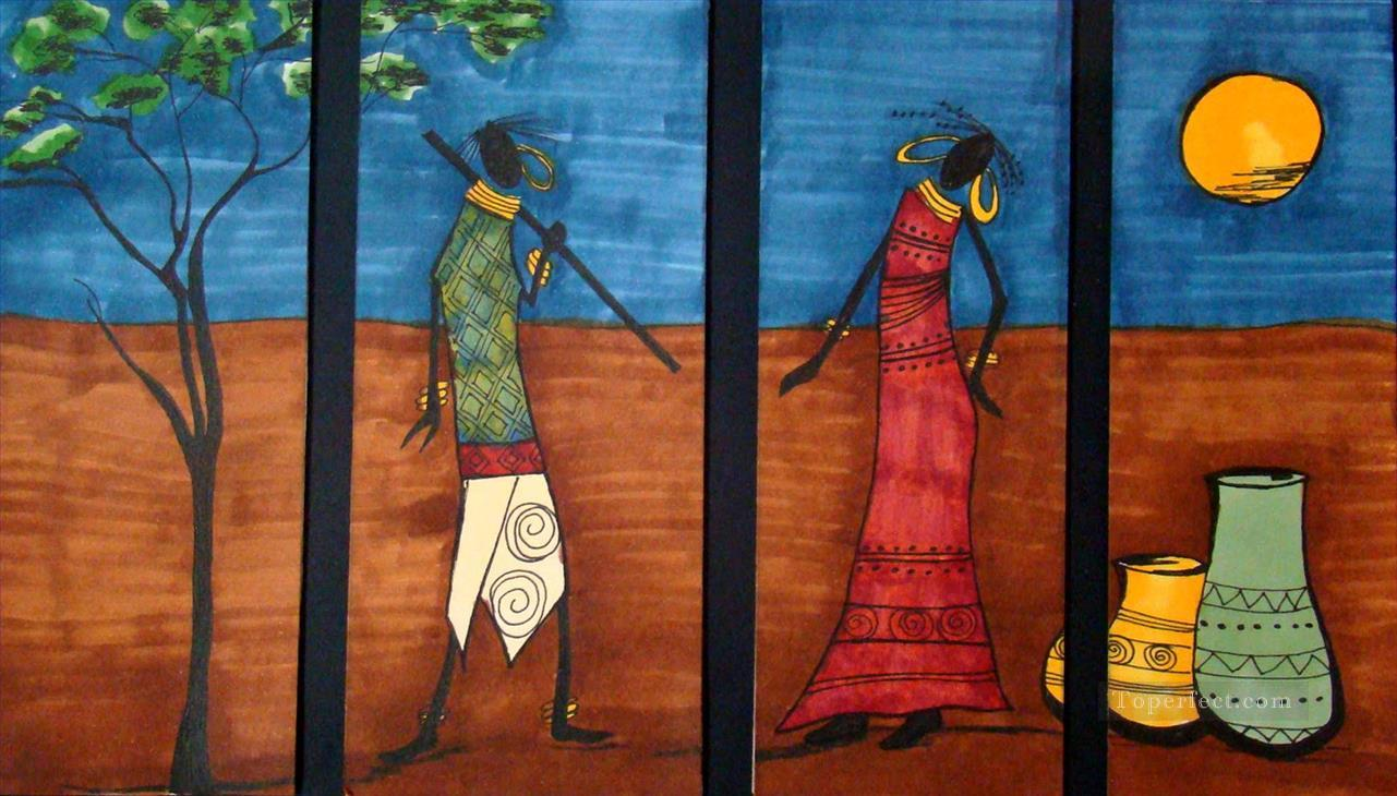 black couple under moon in 4 panels African Oil Paintings