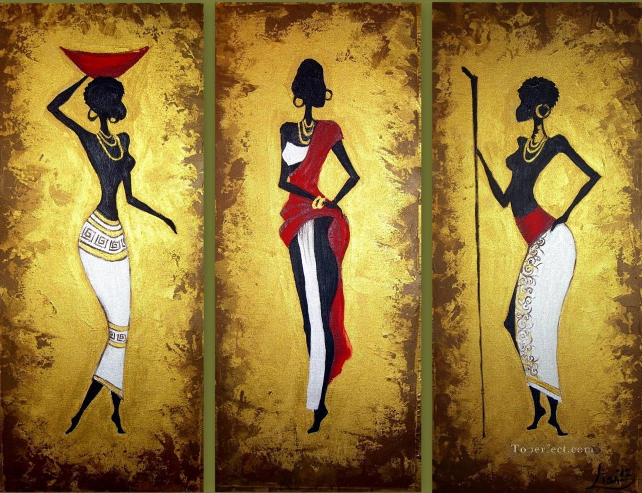 black women with gold powder in triptych African Painting in Oil for ...