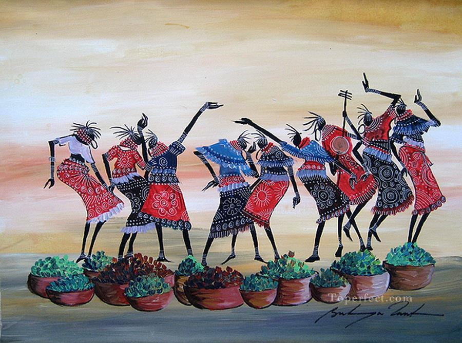 Dancing with Greens African Oil Paintings