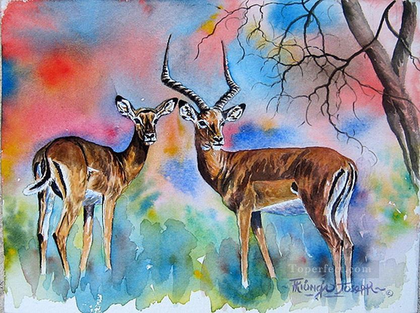 Impalas from Africa Oil Paintings