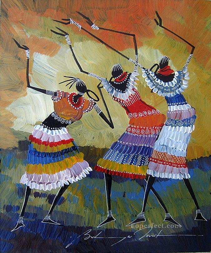 three dancers black from Africa Oil Paintings