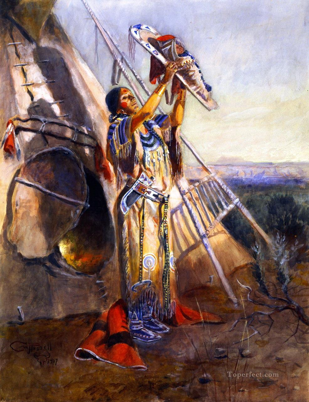 sun worship in montana 1907 Charles Marion Russell American Indians Oil Paintings