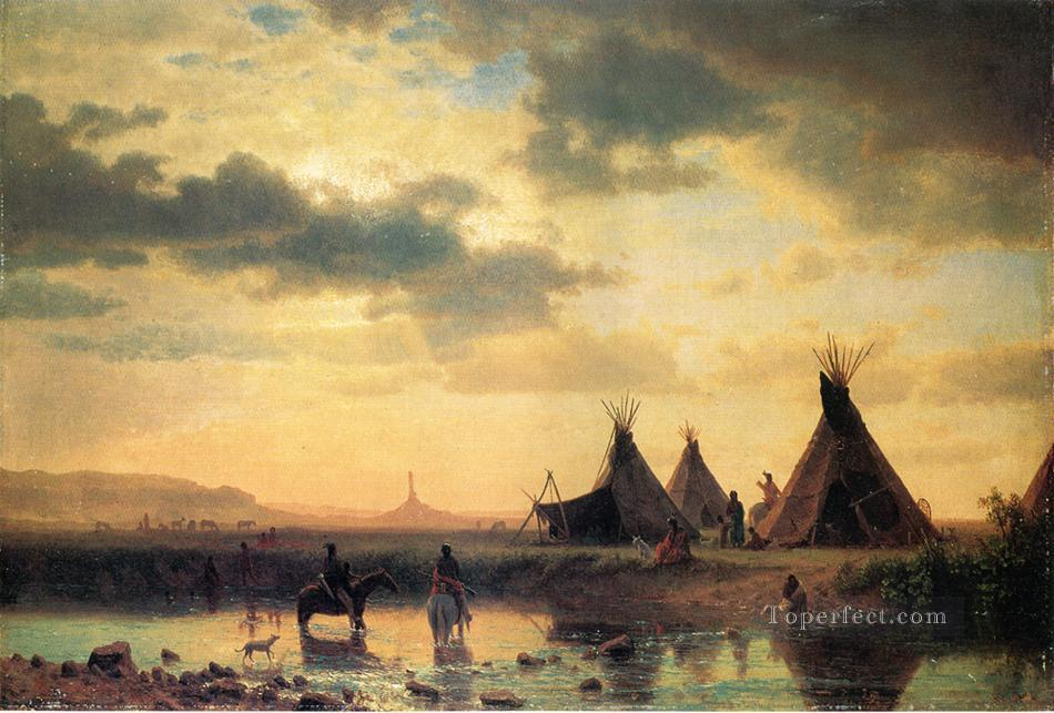 View of Chimney Rock Ogalillalh Sioux Village in Foreground American Indians Albert Bierstadt Oil Paintings
