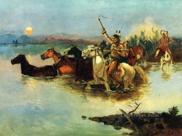 crossing the range 1890 Charles Marion Russell American Indians Oil Paintings