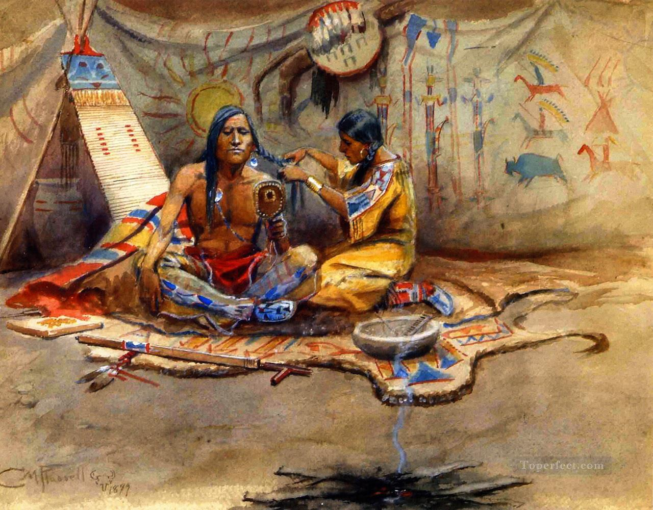 indian beauty parlor 1899 Charles Marion Russell American Indians Oil Paintings