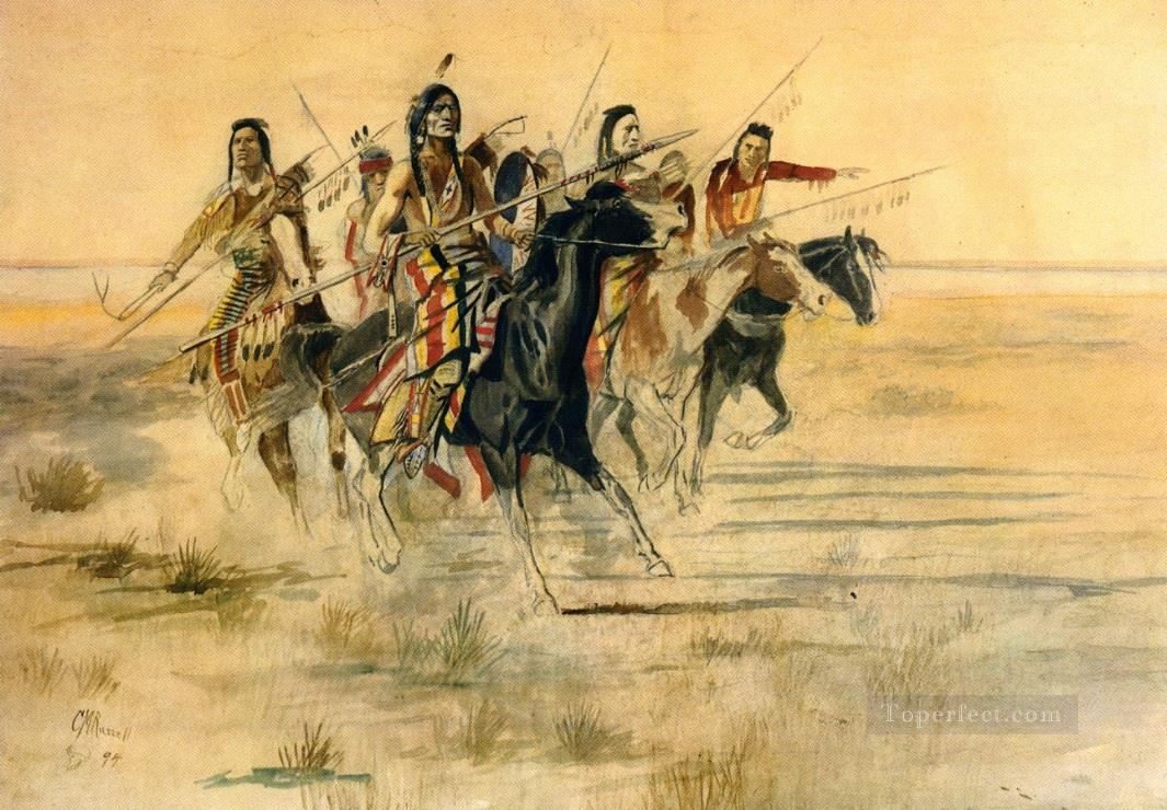 indian hunt 1894 Charles Marion Russell American Indians Oil Paintings