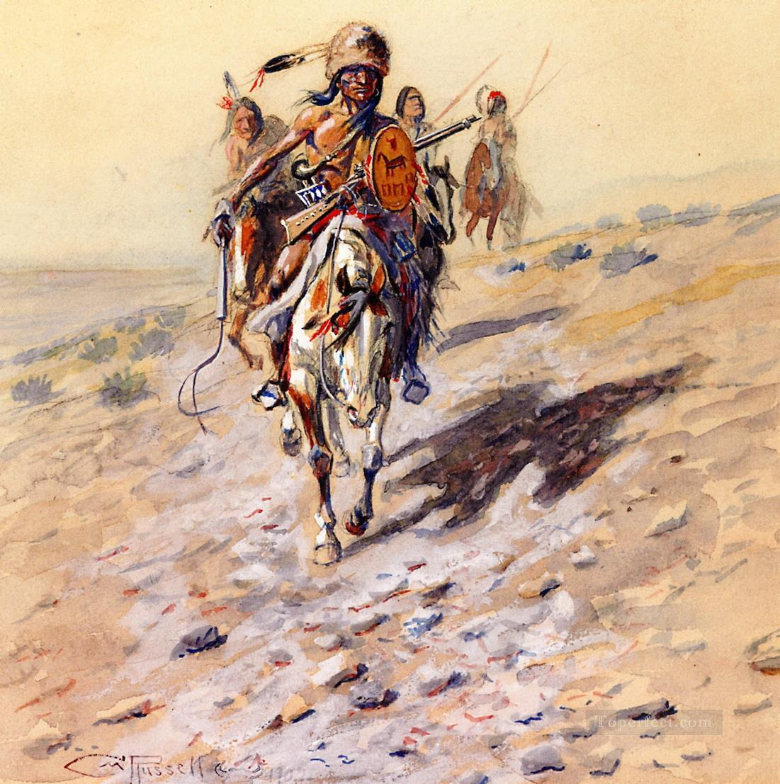 on the trail 1902 Charles Marion Russell American Indians Oil Paintings