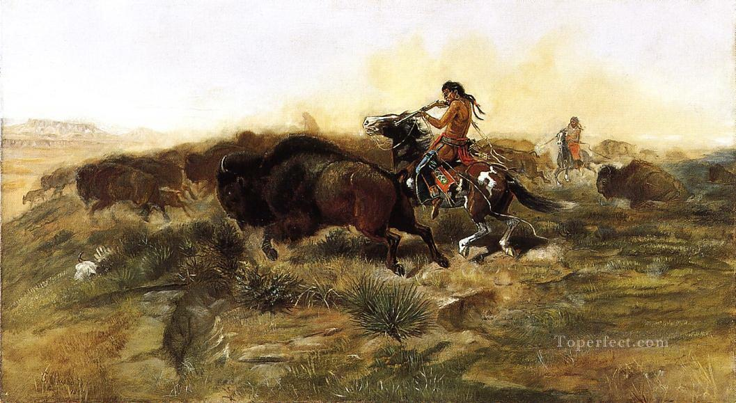 wild meat for wild men 1890 Charles Marion Russell American Indians Oil Paintings