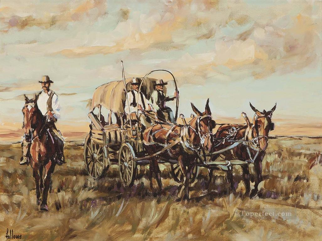 Fellows Bringing Supplies west America Oil Paintings