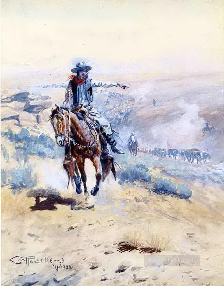 pointing out the trail 1905 Charles Marion Russell American Indians Oil Paintings