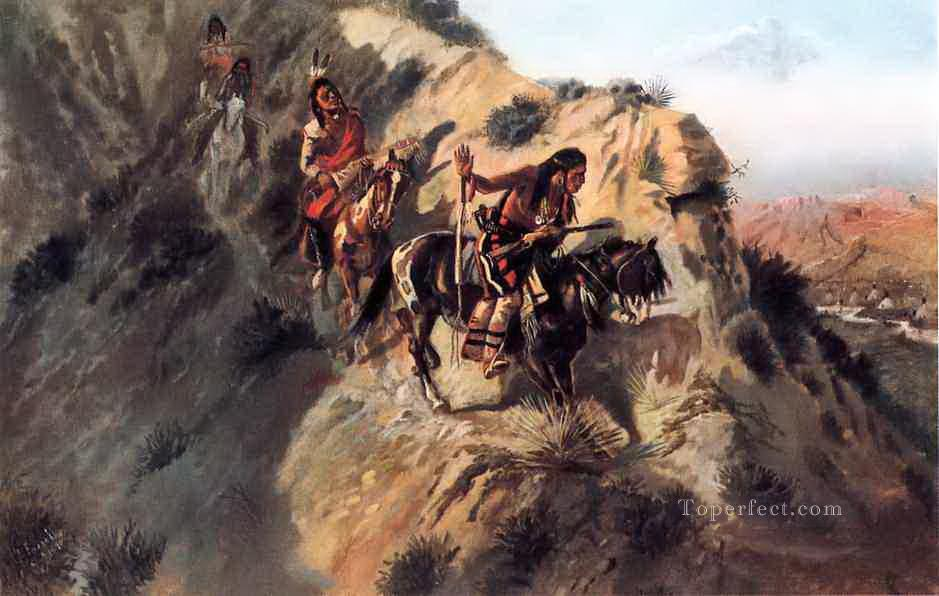 scouting the enemy 1890 Charles Marion Russell American Indians Oil Paintings