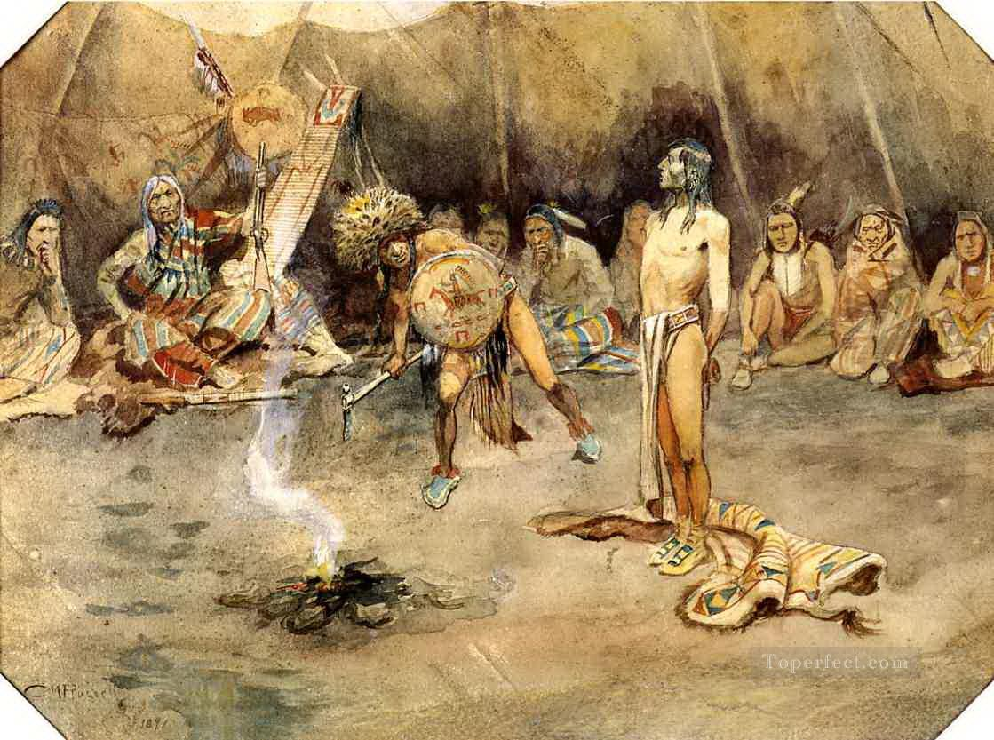 sioux torturing a blackfoot brave 1897 Charles Marion Russell American Indians Oil Paintings