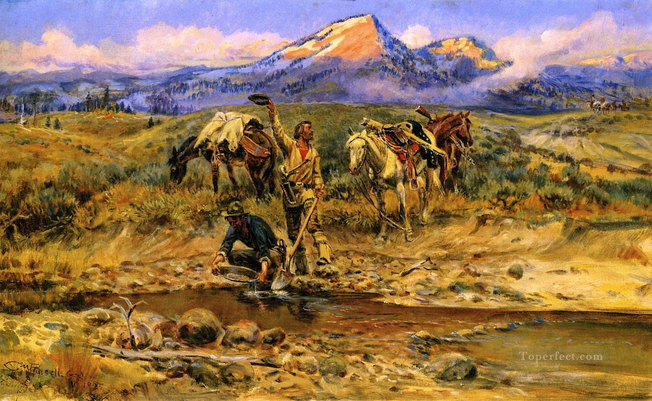 pay dirt 1925 Charles Marion Russell American Indians Oil Paintings