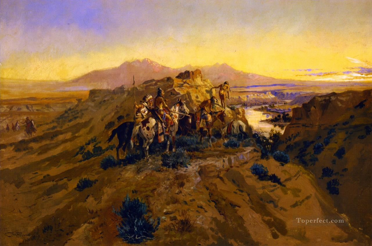 planning the attack 1900 Charles Marion Russell American Indians Oil Paintings