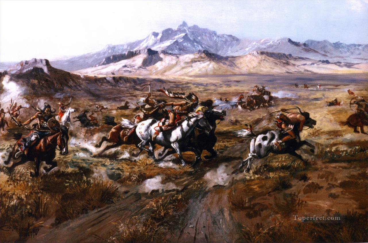 stage coach attack 1899 Charles Marion Russell American Indians Oil Paintings