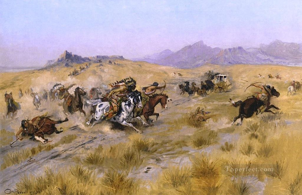 the attack 1897 Charles Marion Russell American Indians Oil Paintings