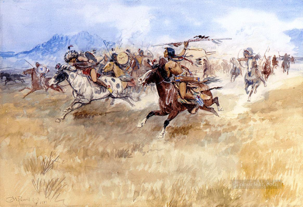 the battle between the blackfeet and the piegans 1897 Charles Marion Russell American Indians Oil Paintings