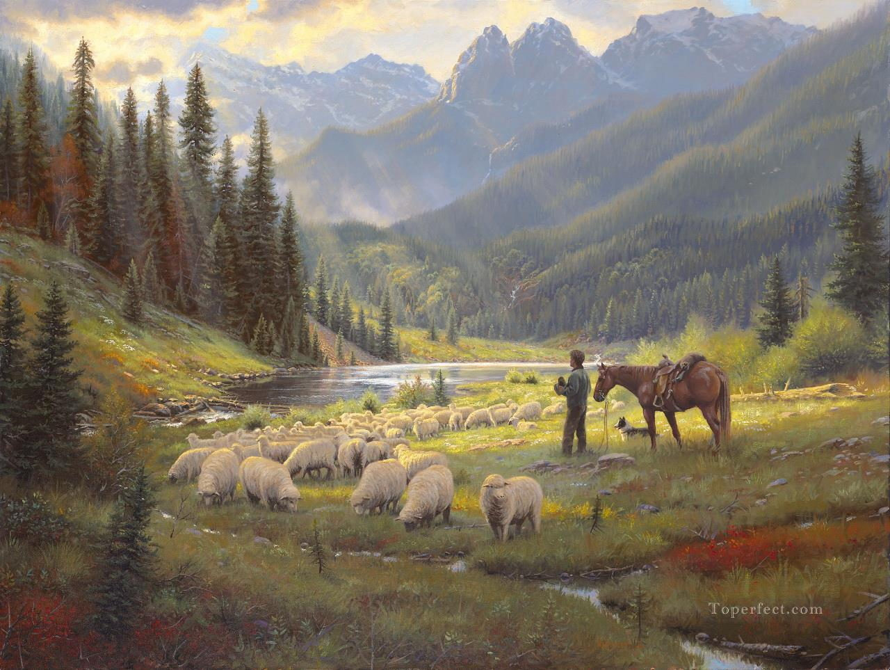 He Leadeth Me Keathley west America Oil Paintings