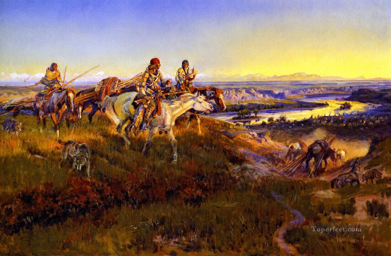 when white men turn red 1922 Charles Marion Russell American Indians Oil Paintings