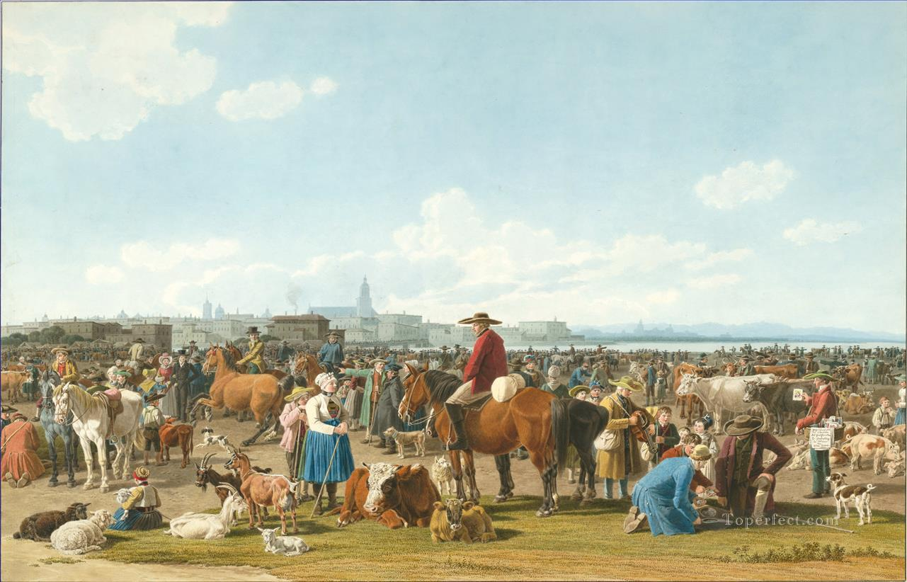 Wilhelm von Kobell Cattle Market before a Large City on a Lake 1820 Oil Paintings