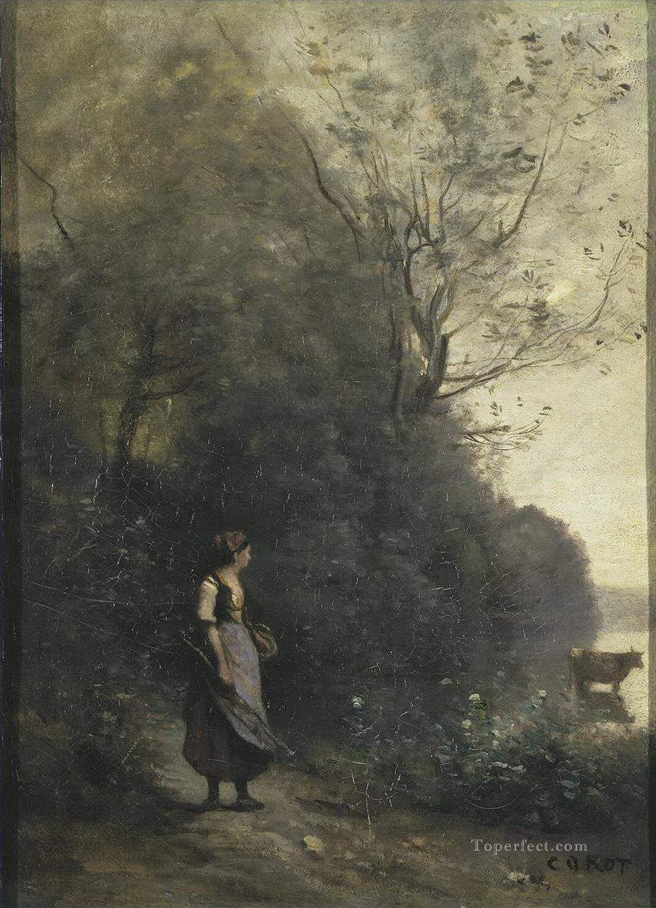 Jean Baptiste Camille Corot l Peasant Girl Grazing a Cow in the Forest Oil Paintings