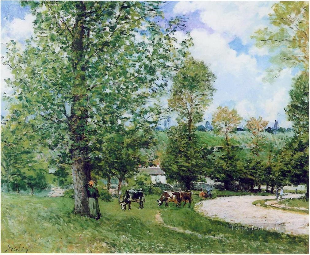alfred sisley cow pasture near louveciennes 1875 Oil Paintings