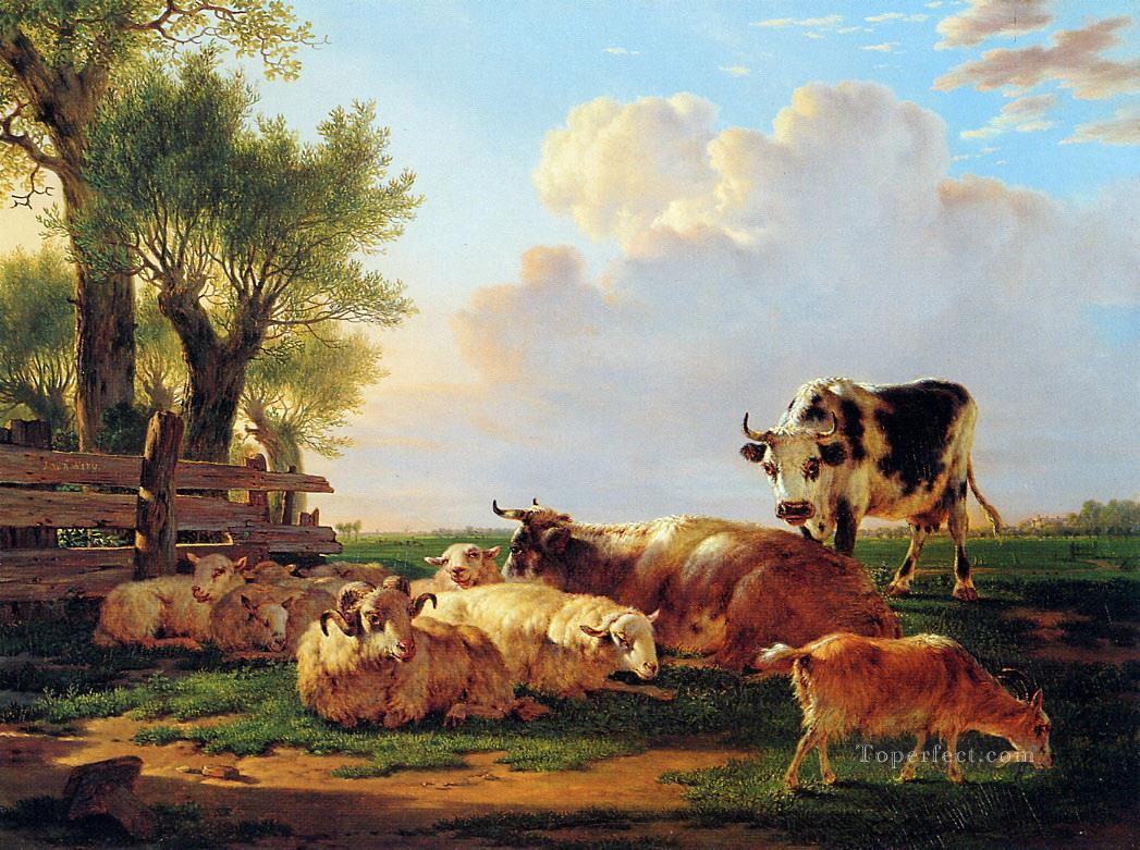meadow with cattle Oil Paintings