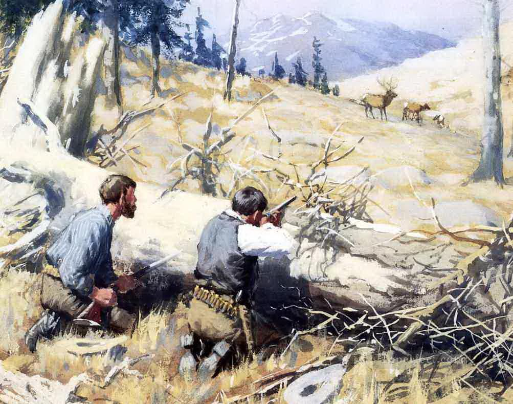 Arthur B Frost Elk Ahead Oil Paintings