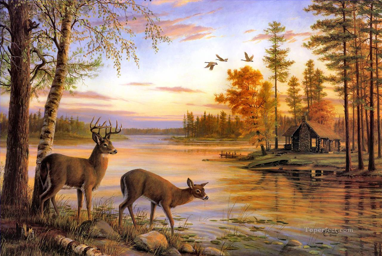 whitetail near river Oil Paintings