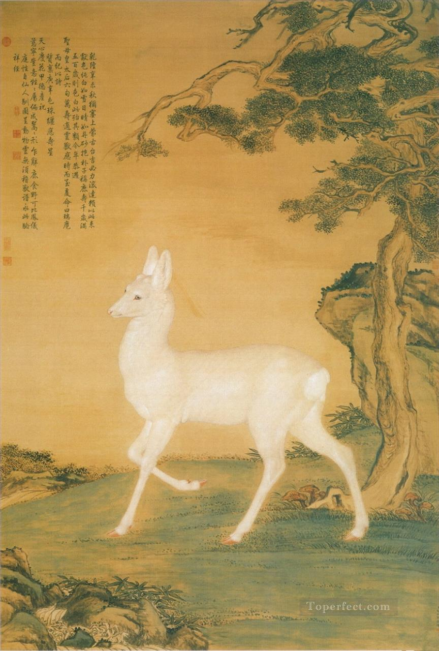 Lang shining white deer old China ink Giuseppe Castiglione deer Oil Paintings