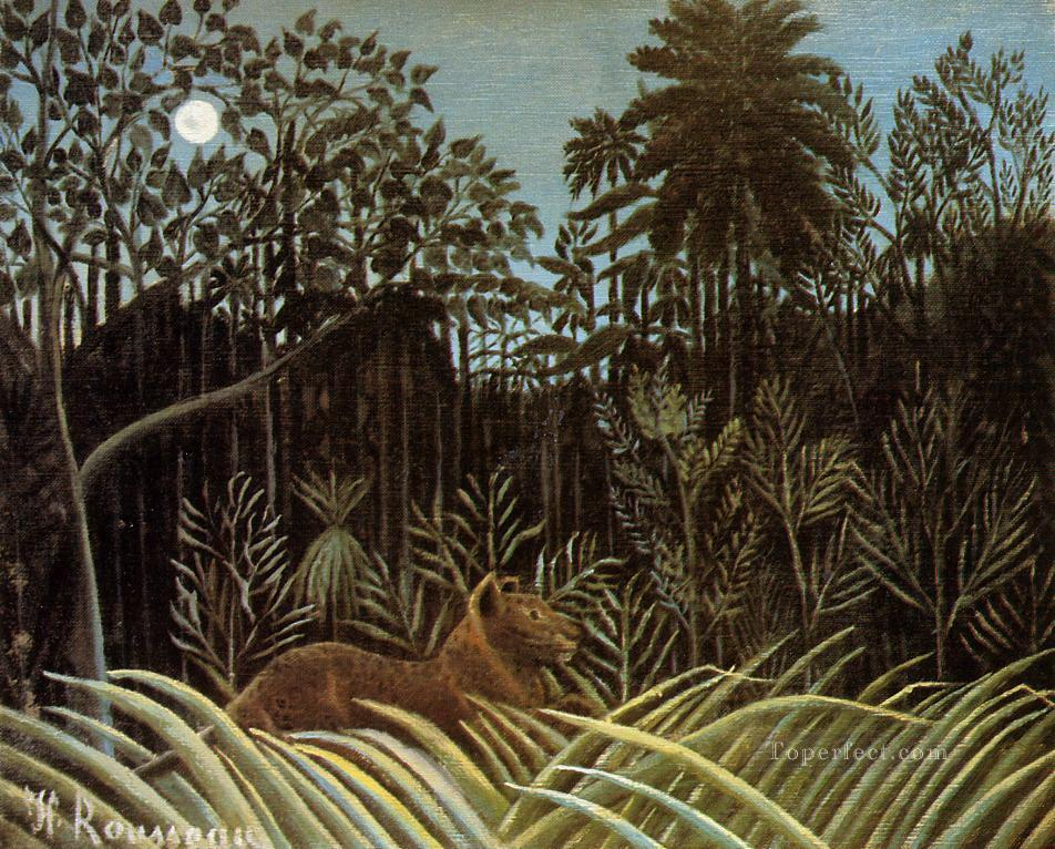 jungle with lion 1910 Henri Rousseau Oil Paintings