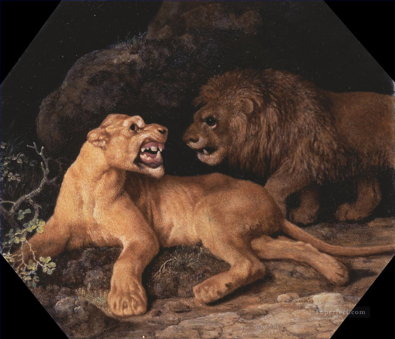 George Stubbs Lion and Lioness Oil Paintings
