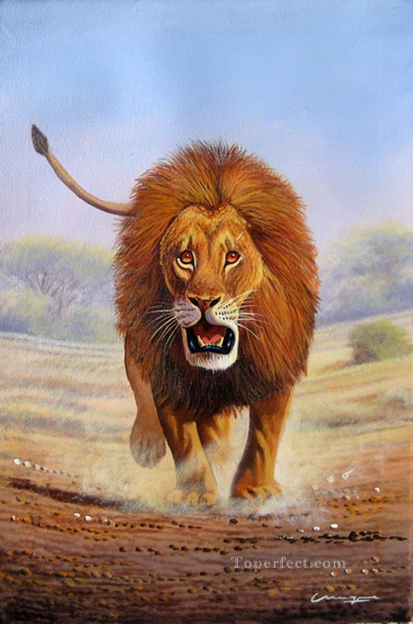 mugwe advancing lion painting in oil for sale