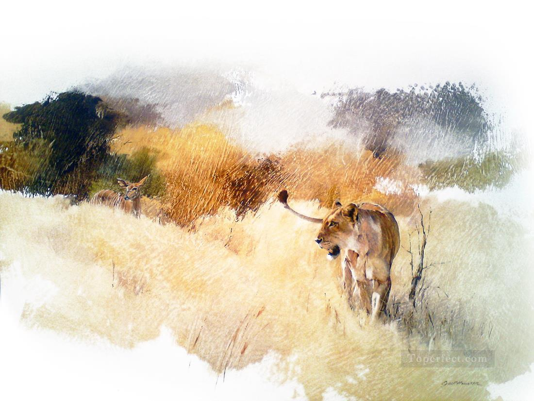 lioness and nyala geoff hunter wildlife Oil Paintings