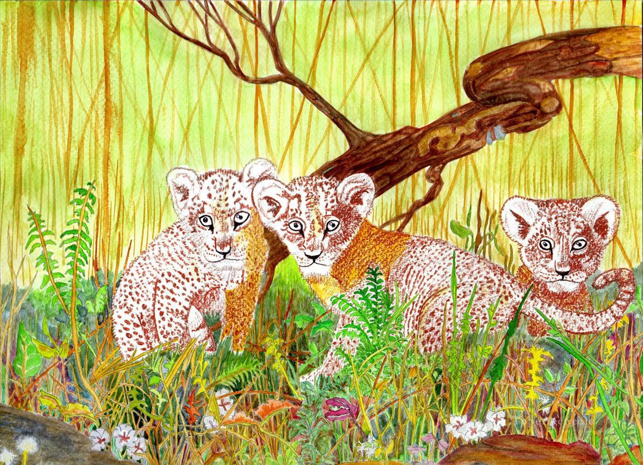 Lion Cubs Oil Paintings