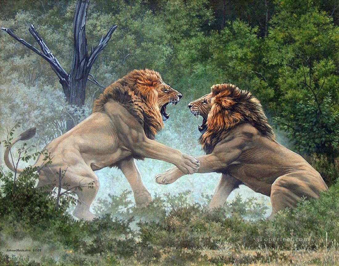 duelling lions Oil Paintings
