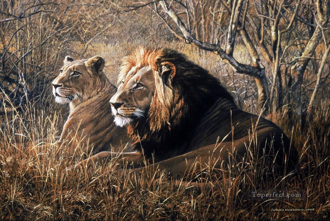 lion pair big cat mural Oil Paintings
