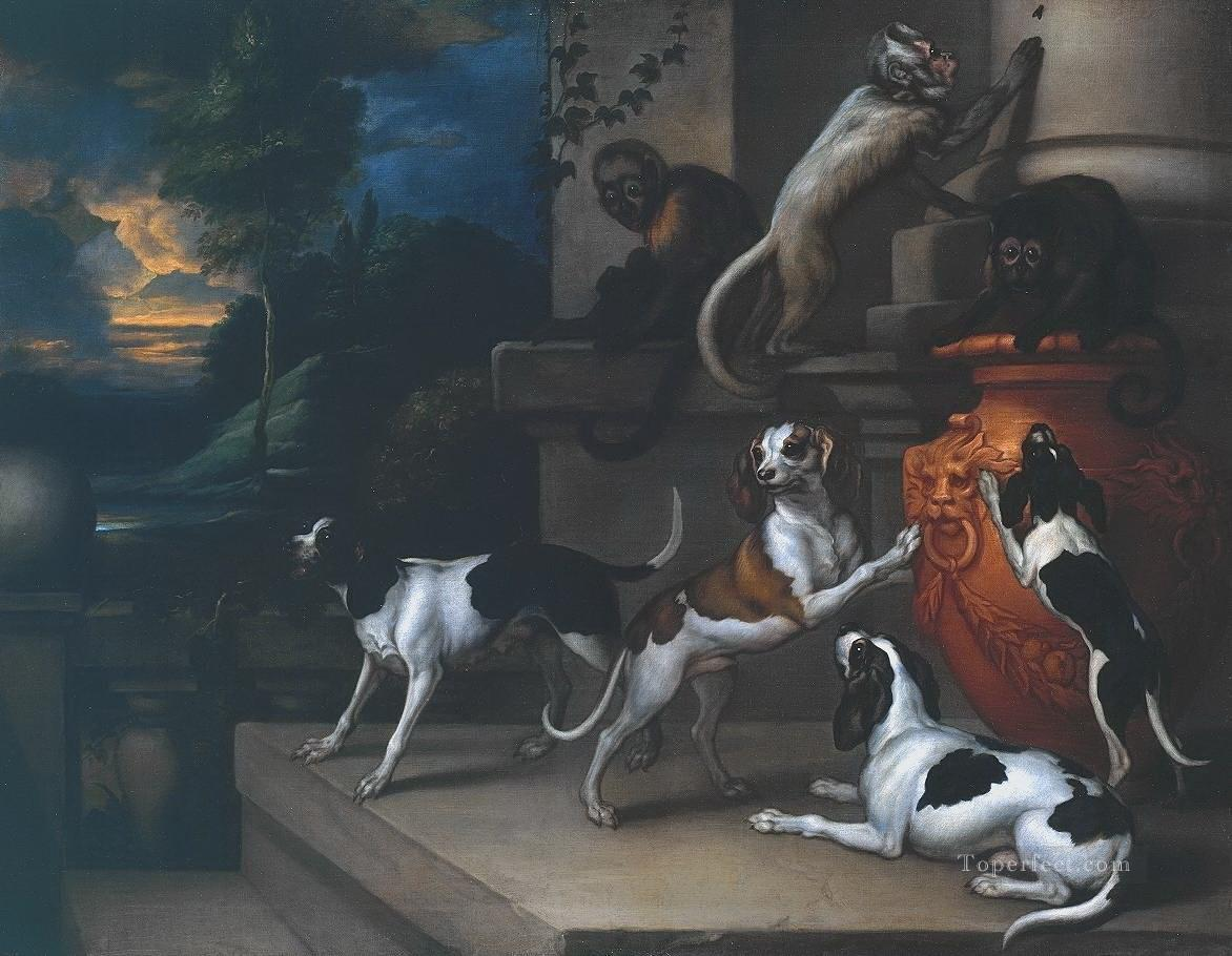 dogs and monkeyss at night Oil Paintings