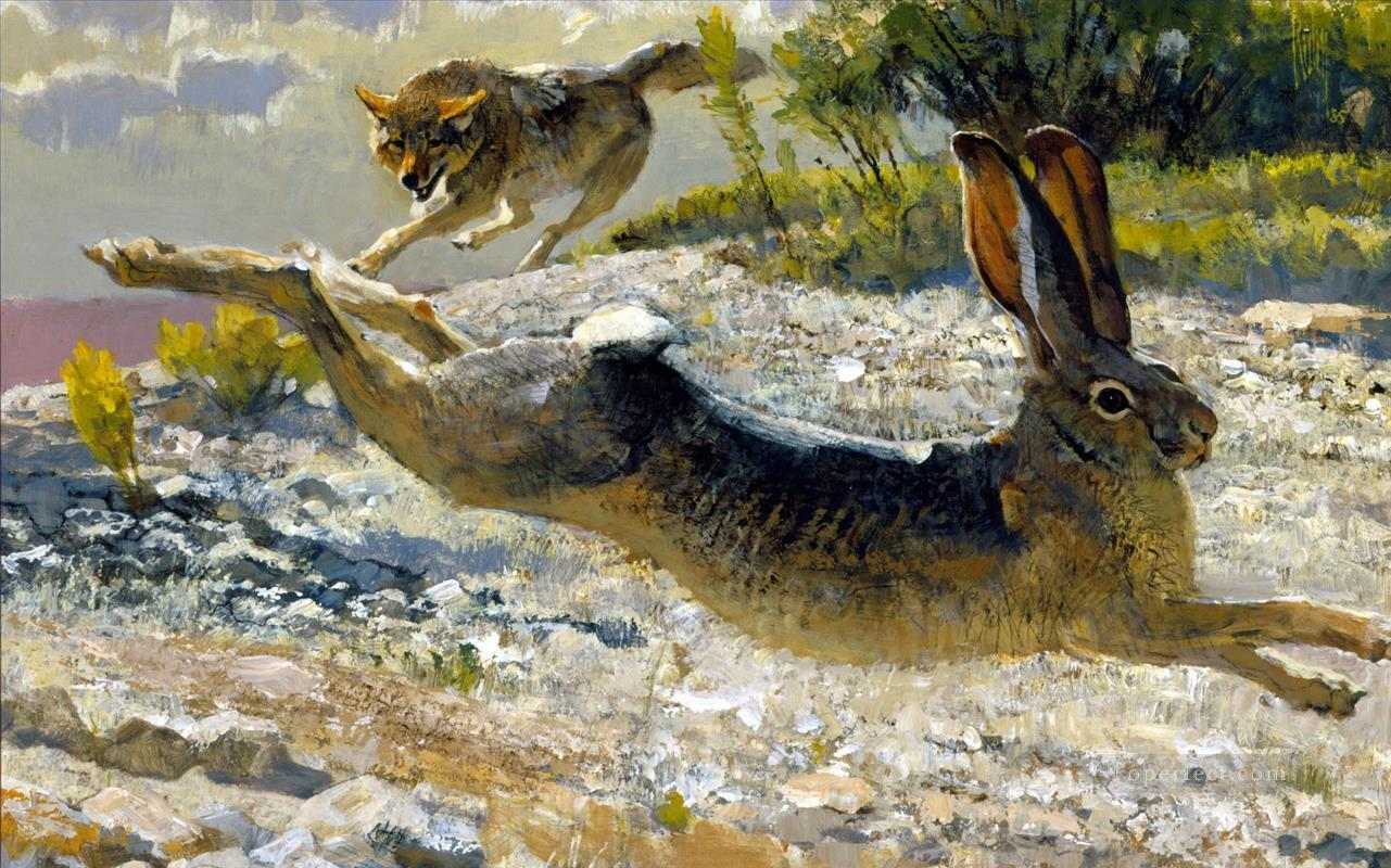 wolf hunt hare Oil Paintings