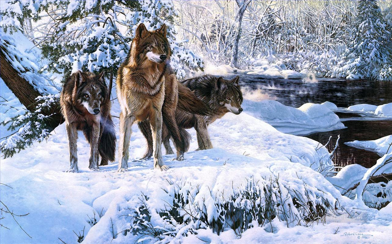 wolves in winter scenes Painting in Oil for Sale